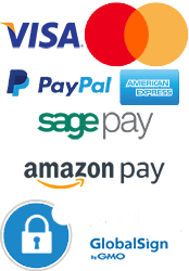 Visa, mastercard, paypal, american express, sagepay, amazon pay, globalsign secure payment options