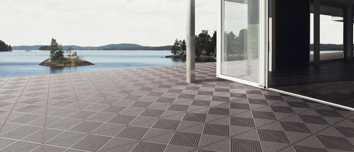Brightening up outdoor spaces with vinyl floor tiles for Vinyl flooring outside porch