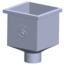 Roofart Scandic Steel Square Rainwater Hopper - Black - 87mm