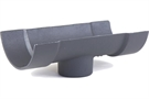 Hargreaves Cast Iron Plain Half Round Outlet - Premier Primed Grey - DropEnd External - 115mm - 75mm