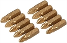 Silverline Pozidriv Gold Screwdriver Bits - Pack of 10