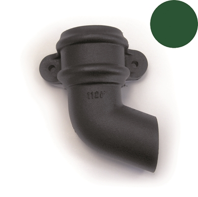 Brett Martin Cascade Round Downpipe Shoe with Lugs - 68mm - Left Hand - Olive Green