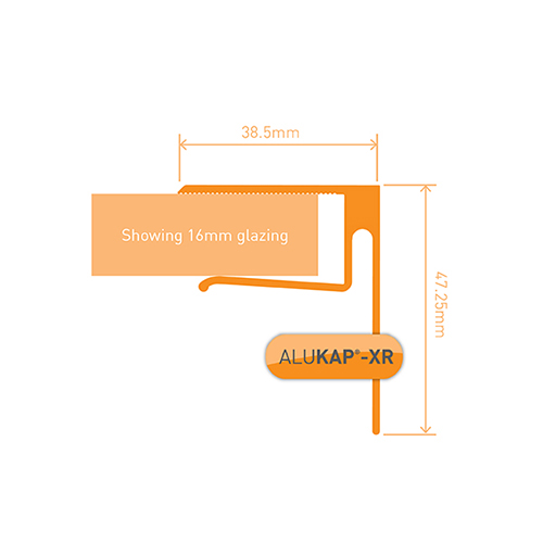 Alukap-XR System End Stop Bar - 16mm x 3.6m - White