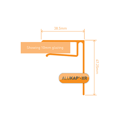 Alukap-XR System End Stop Bar - 10mm x 3.6m - White
