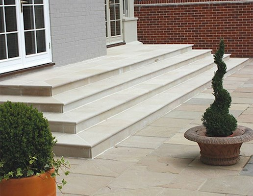 Global Stone Artisan Serenity Bullnose Steps - External - Buff Brown - 422x422mm