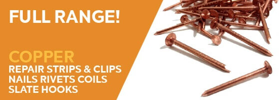 Full range copper repair strips, clips and nails