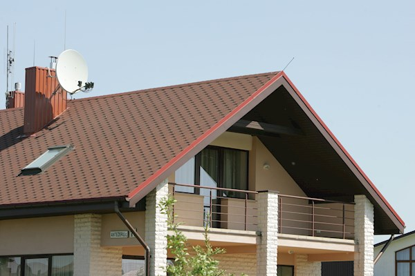 red roof shingles in hexagon design on pitched roof